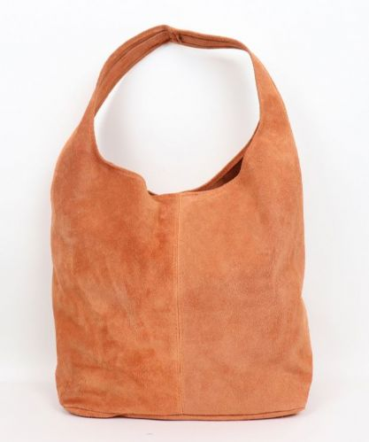 Suede Hobo Shoulder Bag - Burned Orange
